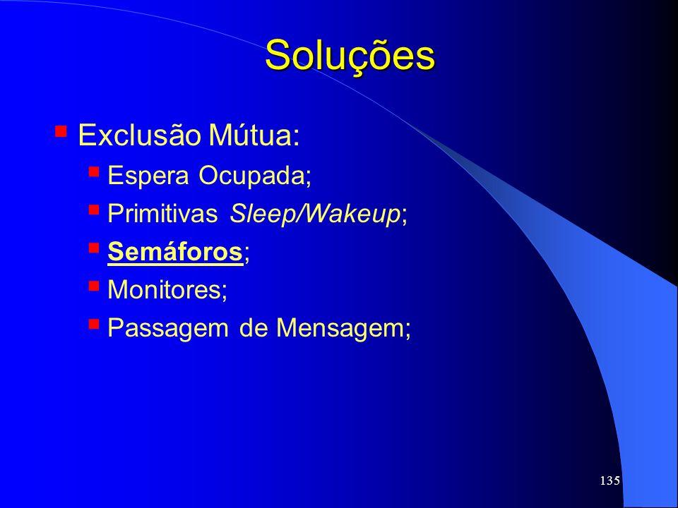 135 Soluções Exclusão Mútua: Espera Ocupada; Primitivas Sleep/Wakeup; Semáforos; Monitores; Passagem de Mensagem;