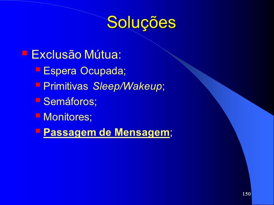 150 Soluções Exclusão Mútua: Espera Ocupada; Primitivas Sleep/Wakeup; Semáforos; Monitores; Passagem de Mensagem;