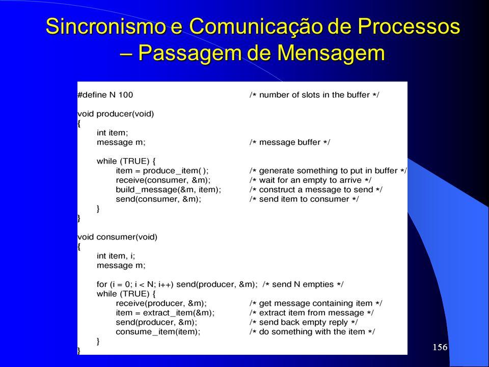 156 Sincronismo e Comunicação de Processos – Passagem de Mensagem