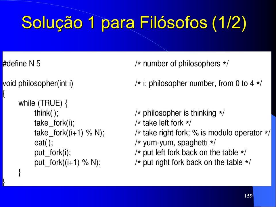 159 Solução 1 para Filósofos (1/2)