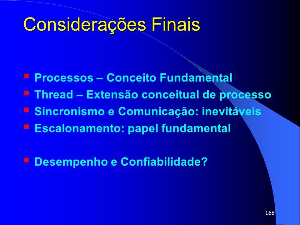 166 Considerações Finais Processos – Conceito Fundamental Thread – Extensão conceitual de processo Sincronismo e Comunicação: inevitáveis Escalonament