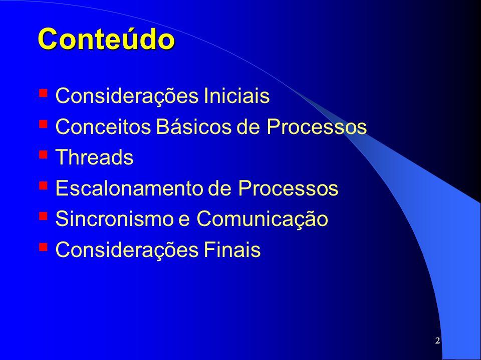 2 Conteúdo Considerações Iniciais Conceitos Básicos de Processos Threads Escalonamento de Processos Sincronismo e Comunicação Considerações Finais