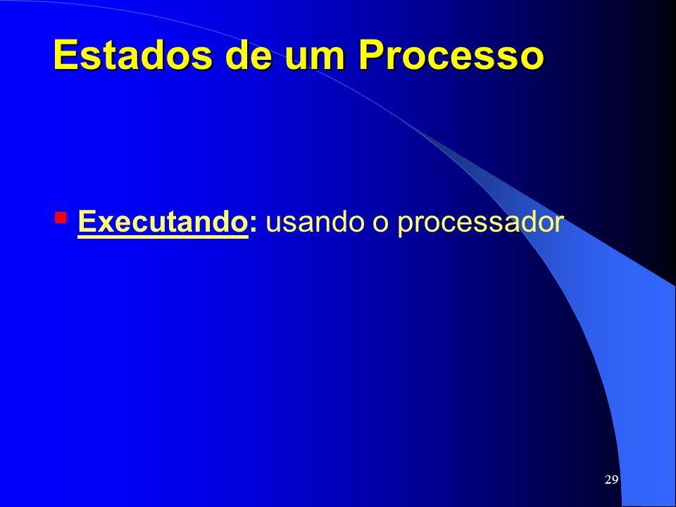 29 Estados de um Processo Executando: usando o processador
