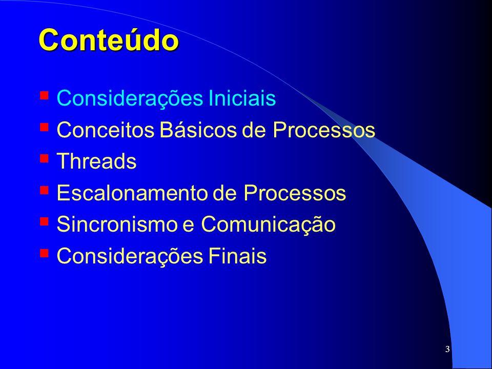 3 Conteúdo Considerações Iniciais Conceitos Básicos de Processos Threads Escalonamento de Processos Sincronismo e Comunicação Considerações Finais