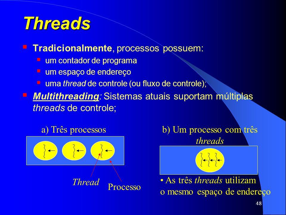 48 Threads Tradicionalmente, processos possuem: um contador de programa um espaço de endereço uma thread de controle (ou fluxo de controle); Multithre