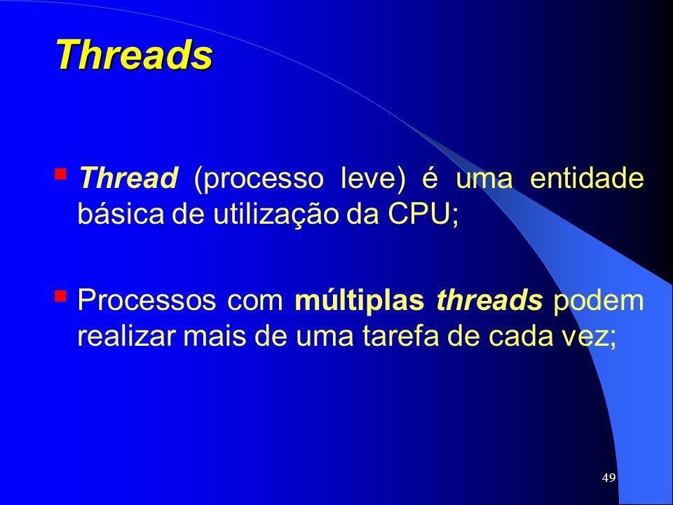 49 Threads Thread (processo leve) é uma entidade básica de utilização da CPU; Processos com múltiplas threads podem realizar mais de uma tarefa de cad