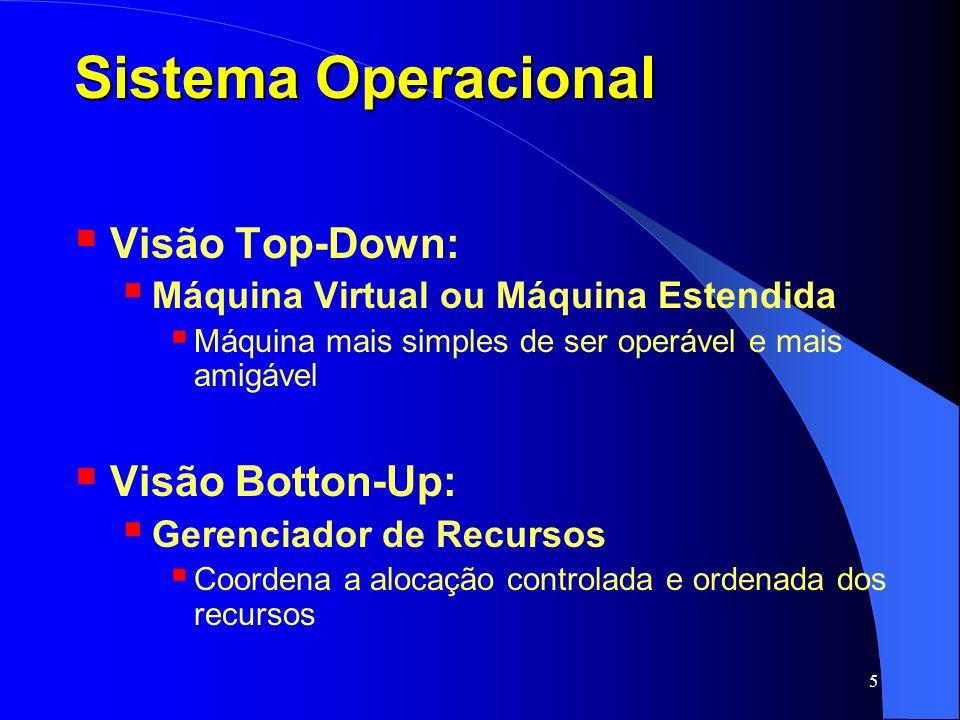 5 Sistema Operacional Visão Top-Down: Máquina Virtual ou Máquina Estendida Máquina mais simples de ser operável e mais amigável Visão Botton-Up: Geren