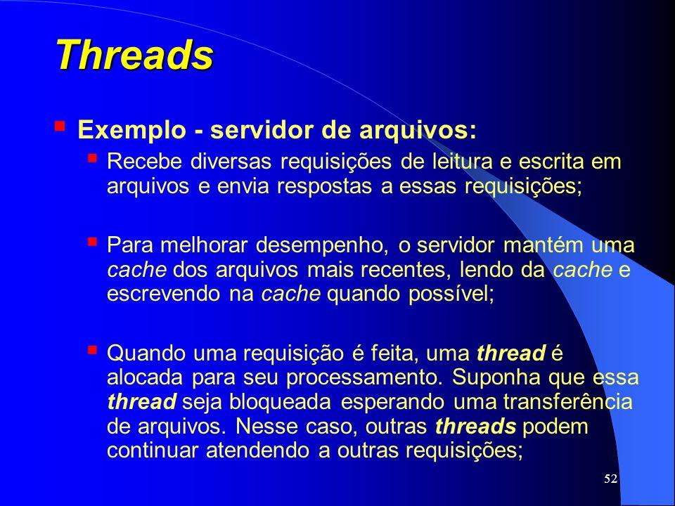 52 Threads Exemplo - servidor de arquivos: Recebe diversas requisições de leitura e escrita em arquivos e envia respostas a essas requisições; Para me