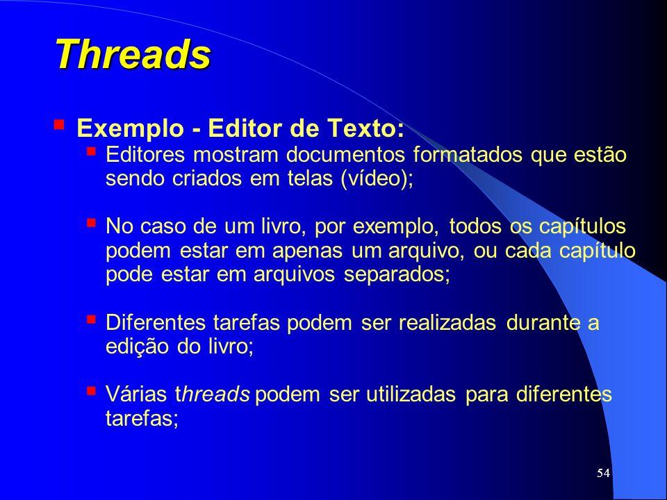 54 Threads Exemplo - Editor de Texto: Editores mostram documentos formatados que estão sendo criados em telas (vídeo); No caso de um livro, por exempl