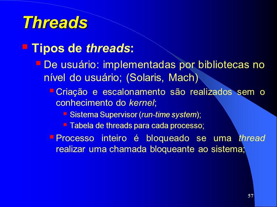 57 Threads Tipos de threads: De usuário: implementadas por bibliotecas no nível do usuário; (Solaris, Mach) Criação e escalonamento são realizados sem