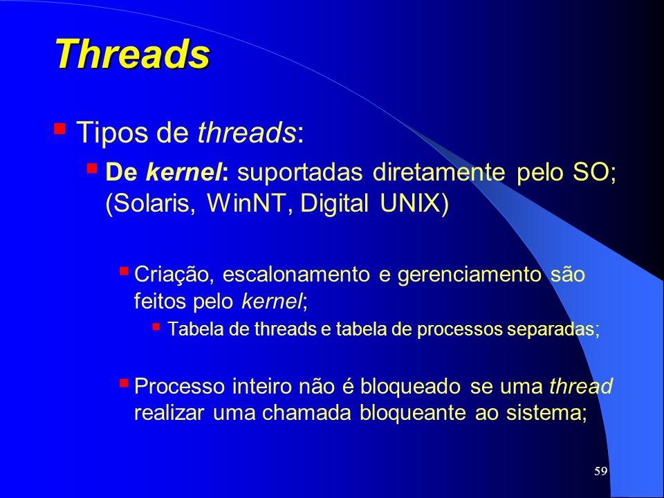 59 Threads Tipos de threads: De kernel: suportadas diretamente pelo SO; (Solaris, WinNT, Digital UNIX) Criação, escalonamento e gerenciamento são feit
