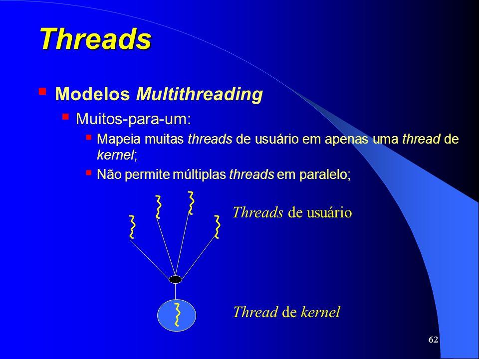 62 Threads Modelos Multithreading Muitos-para-um: Mapeia muitas threads de usuário em apenas uma thread de kernel; Não permite múltiplas threads em pa