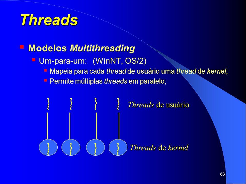 63 Threads Modelos Multithreading Um-para-um:(WinNT, OS/2) Mapeia para cada thread de usuário uma thread de kernel; Permite múltiplas threads em paral