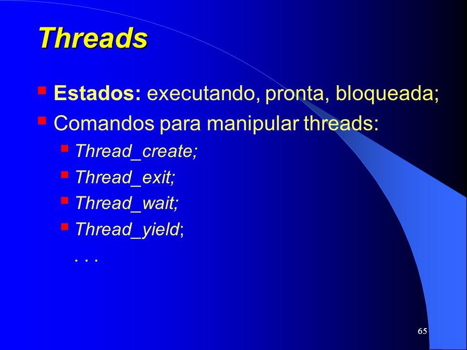 65 Threads Estados: executando, pronta, bloqueada; Comandos para manipular threads: Thread_create; Thread_exit; Thread_wait; Thread_yield;...
