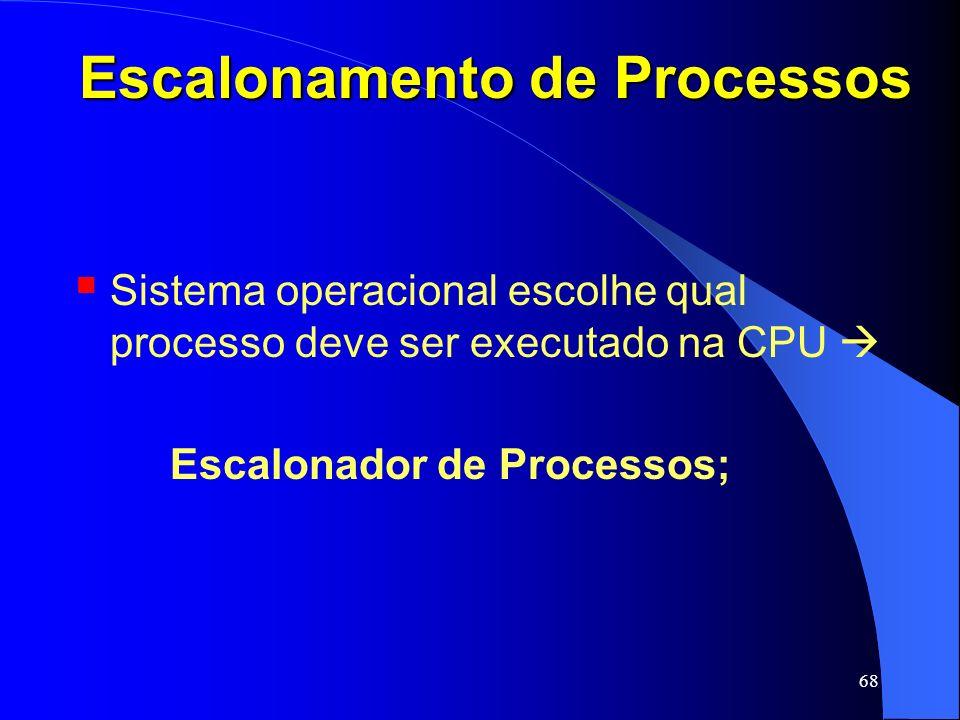 68 Escalonamento de Processos Sistema operacional escolhe qual processo deve ser executado na CPU Escalonador de Processos;