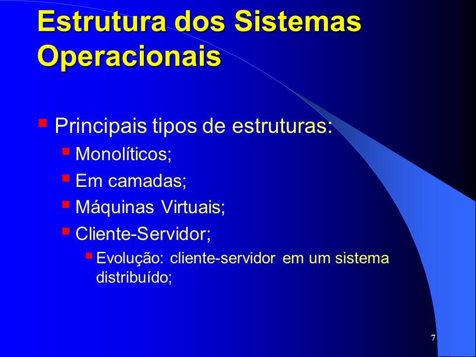 7 Estrutura dos Sistemas Operacionais Principais tipos de estruturas: Monolíticos; Em camadas; Máquinas Virtuais; Cliente-Servidor; Evolução: cliente-