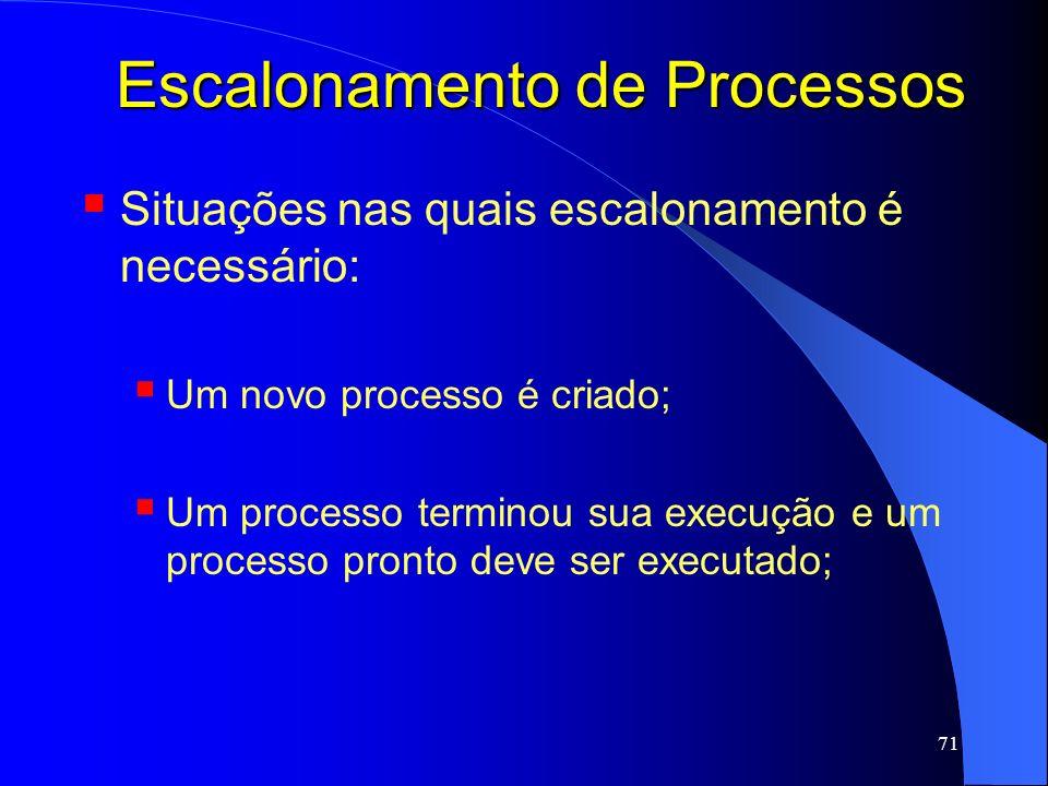 71 Escalonamento de Processos Situações nas quais escalonamento é necessário: Um novo processo é criado; Um processo terminou sua execução e um proces