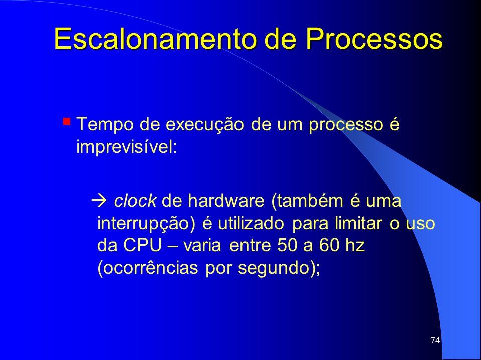 74 Escalonamento de Processos Tempo de execução de um processo é imprevisível: clock de hardware (também é uma interrupção) é utilizado para limitar o