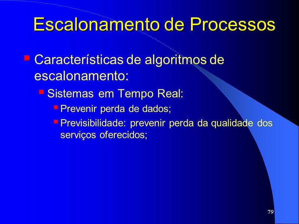 79 Escalonamento de Processos Características de algoritmos de escalonamento: Sistemas em Tempo Real: Prevenir perda de dados; Previsibilidade: preven