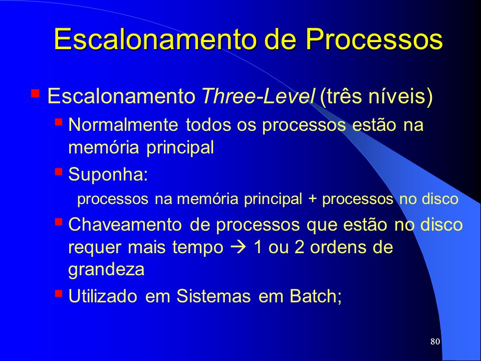 80 Escalonamento de Processos Escalonamento Three-Level (três níveis) Normalmente todos os processos estão na memória principal Suponha: processos na