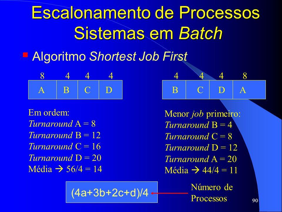 90 Escalonamento de Processos Sistemas em Batch Algoritmo Shortest Job First ABCD 8444 Em ordem: Turnaround A = 8 Turnaround B = 12 Turnaround C = 16