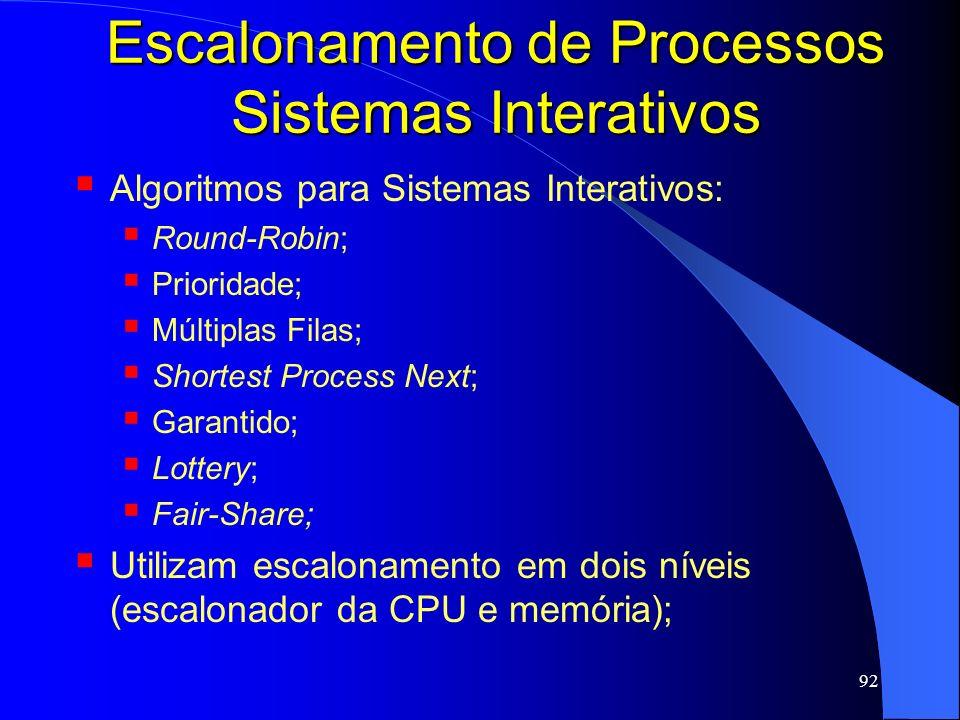 92 Escalonamento de Processos Sistemas Interativos Algoritmos para Sistemas Interativos: Round-Robin; Prioridade; Múltiplas Filas; Shortest Process Ne