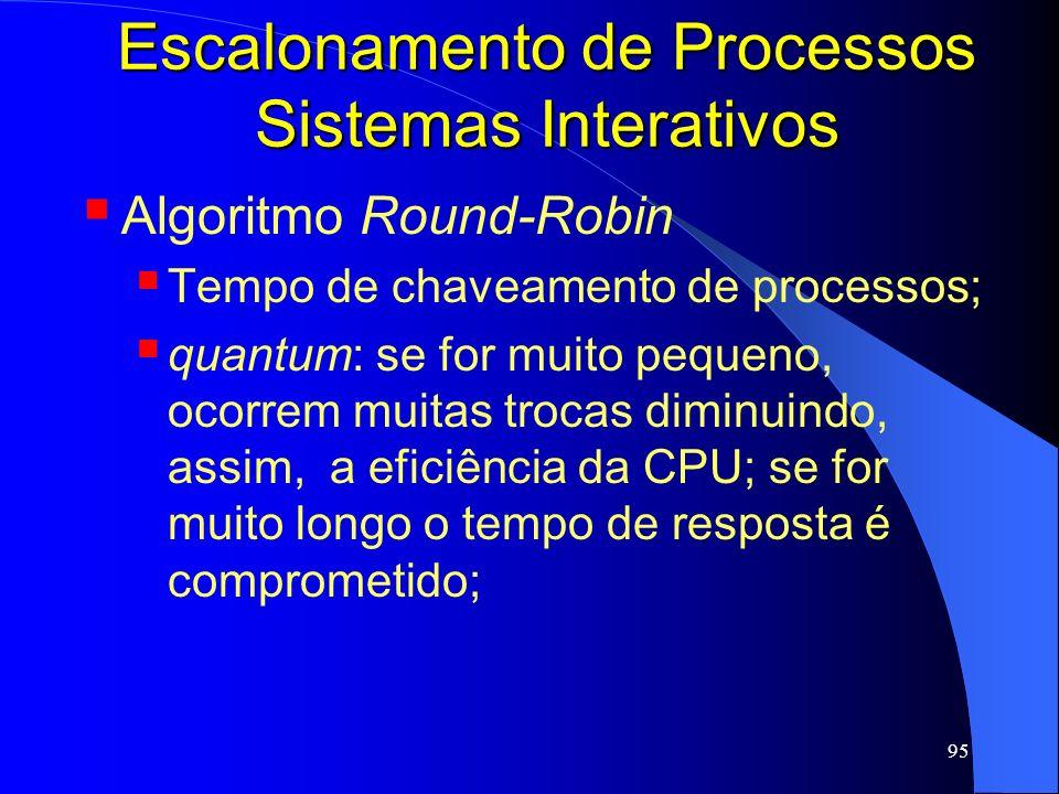 95 Escalonamento de Processos Sistemas Interativos Algoritmo Round-Robin Tempo de chaveamento de processos; quantum: se for muito pequeno, ocorrem mui