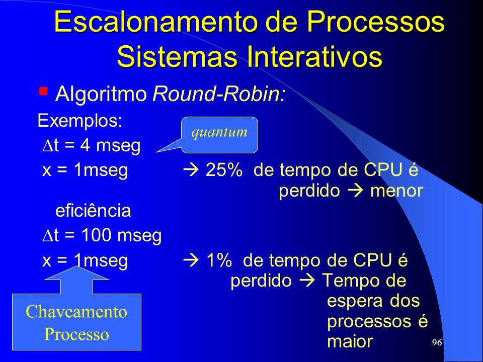 96 Escalonamento de Processos Sistemas Interativos Algoritmo Round-Robin: Exemplos: t = 4 mseg x = 1mseg 25% de tempo de CPU é perdido menor eficiênci
