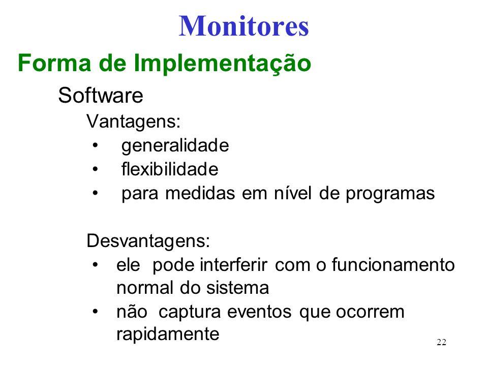 Monitores Forma de Implementação Software Vantagens: generalidade flexibilidade para medidas em nível de programas Desvantagens: ele pode interferir c