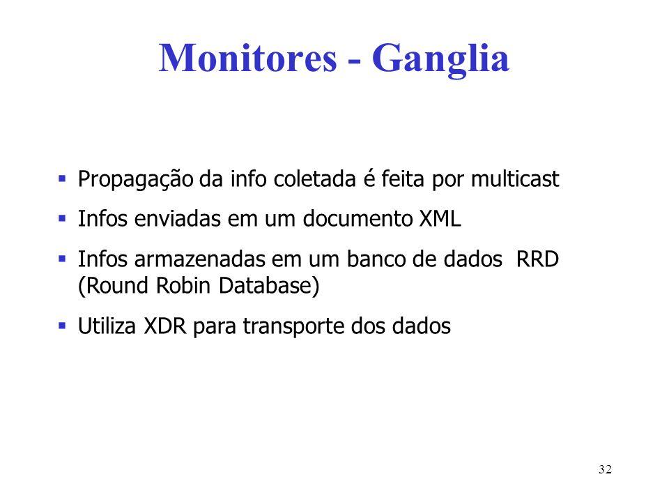 Monitores - Ganglia Propagação da info coletada é feita por multicast Infos enviadas em um documento XML Infos armazenadas em um banco de dados RRD (R