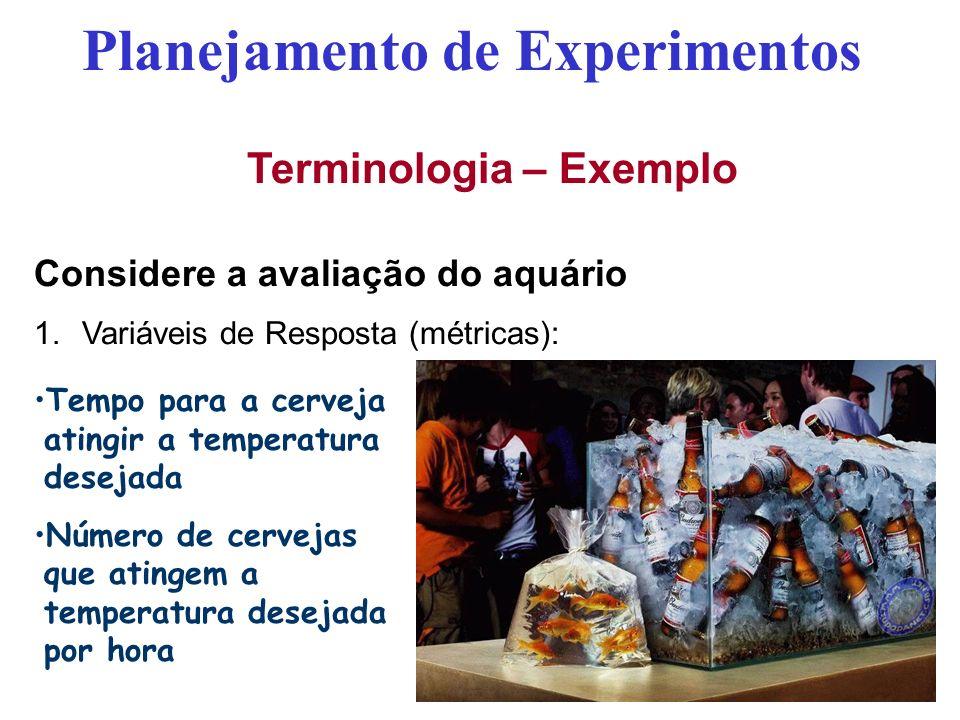 Terminologia – Exemplo Considere a avaliação do aquário 1.Variáveis de Resposta (métricas): Planejamento de Experimentos Tempo para a cerveja atingir