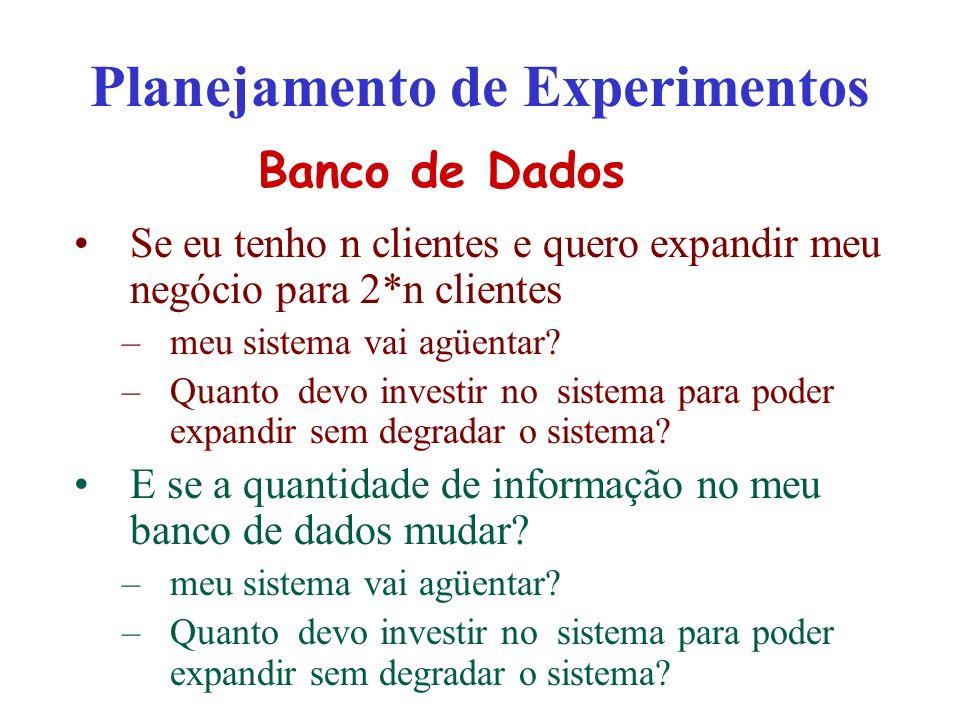 Planejamento de Experimentos Se eu tenho n clientes e quero expandir meu negócio para 2*n clientes –meu sistema vai agüentar? –Quanto devo investir no