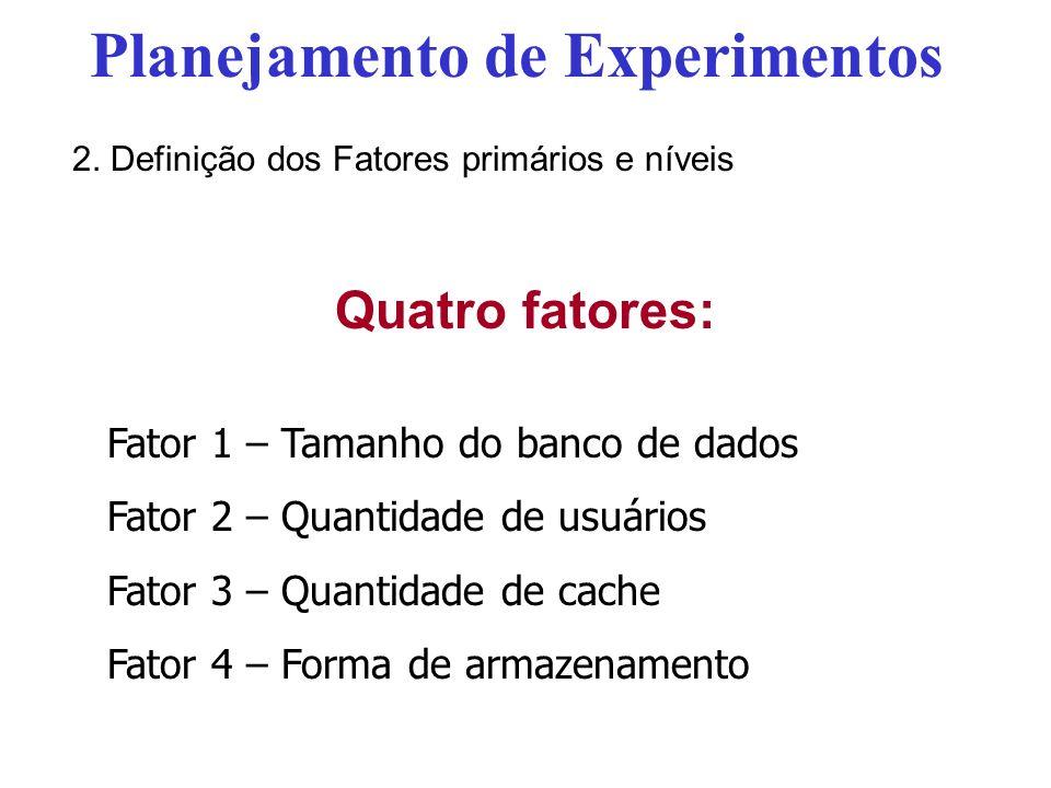 Quatro fatores: Fator 1 – Tamanho do banco de dados Fator 2 – Quantidade de usuários Fator 3 – Quantidade de cache Fator 4 – Forma de armazenamento Pl