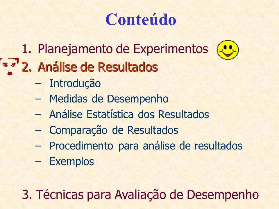 2 Conteúdo 1.Planejamento de Experimentos 2.Análise de Resultados –Introdução –Medidas de Desempenho –Análise Estatística dos Resultados –Comparação d