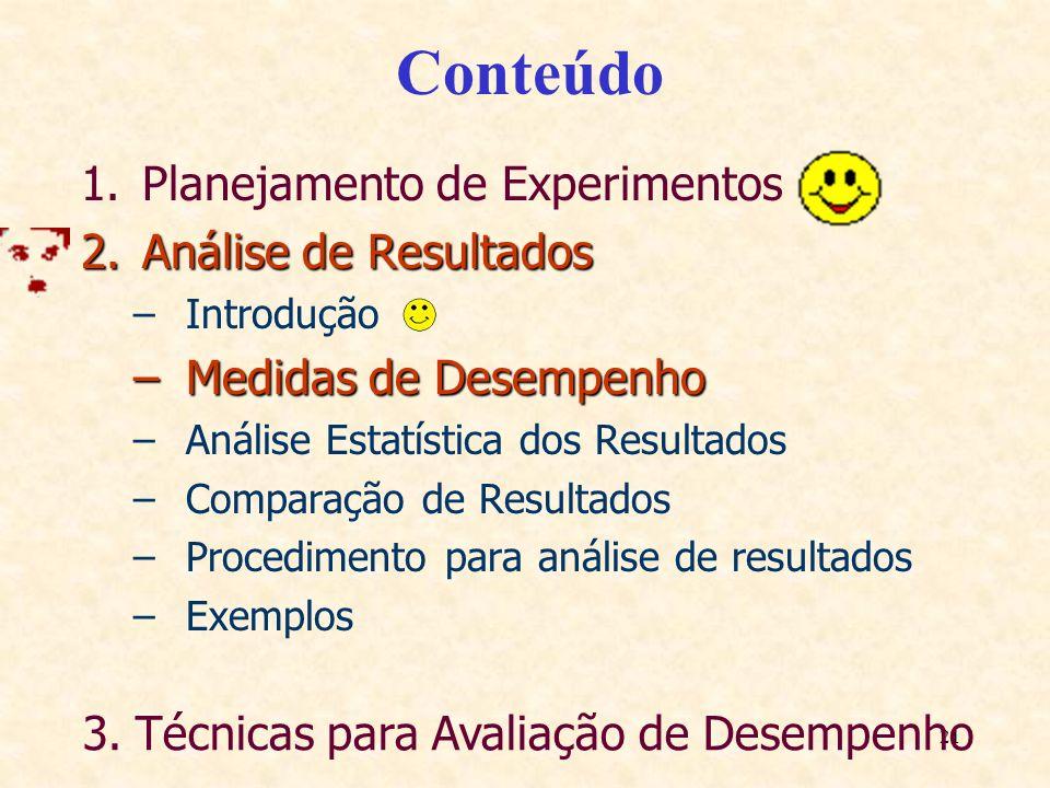 21 Conteúdo 1.Planejamento de Experimentos 2.Análise de Resultados –Introdução –Medidas de Desempenho –Análise Estatística dos Resultados –Comparação