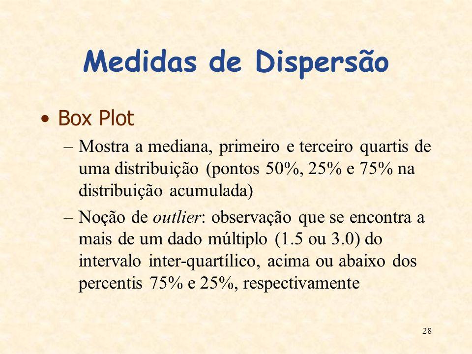 28 Medidas de Dispersão Box Plot –Mostra a mediana, primeiro e terceiro quartis de uma distribuição (pontos 50%, 25% e 75% na distribuição acumulada)