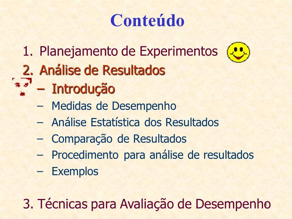 3 Conteúdo 1.Planejamento de Experimentos 2.Análise de Resultados –Introdução –Medidas de Desempenho –Análise Estatística dos Resultados –Comparação d
