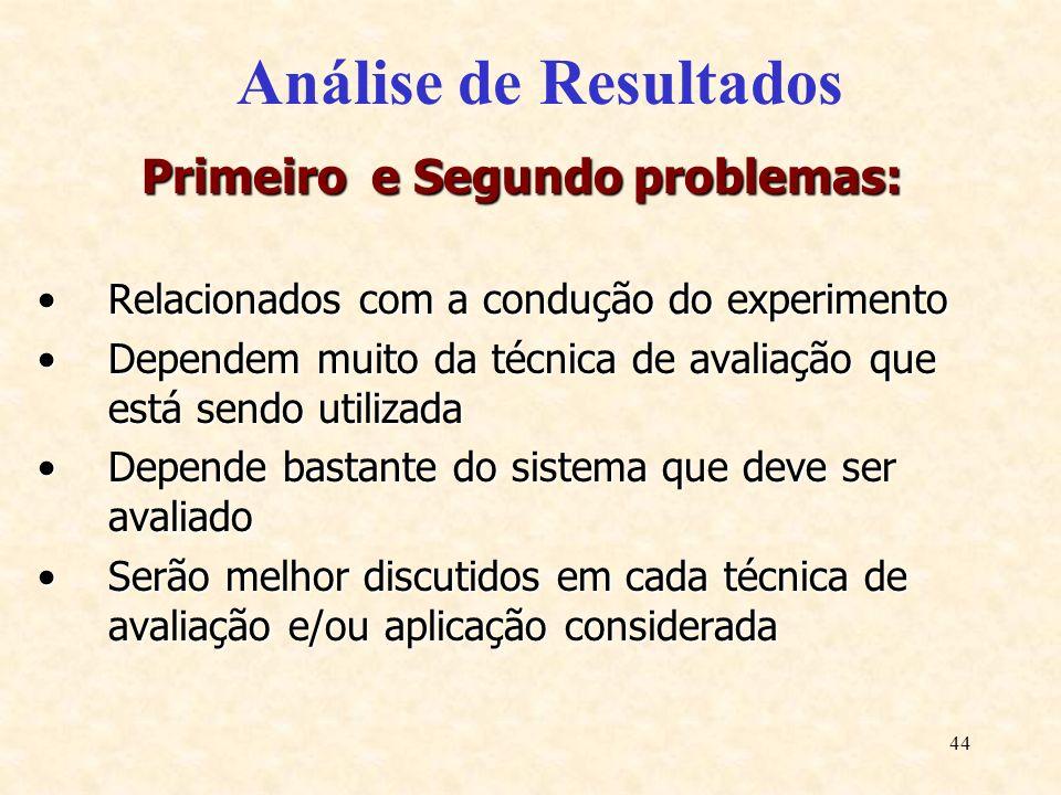 44 Análise de Resultados Primeiro e Segundo problemas: Relacionados com a condução do experimentoRelacionados com a condução do experimento Dependem m
