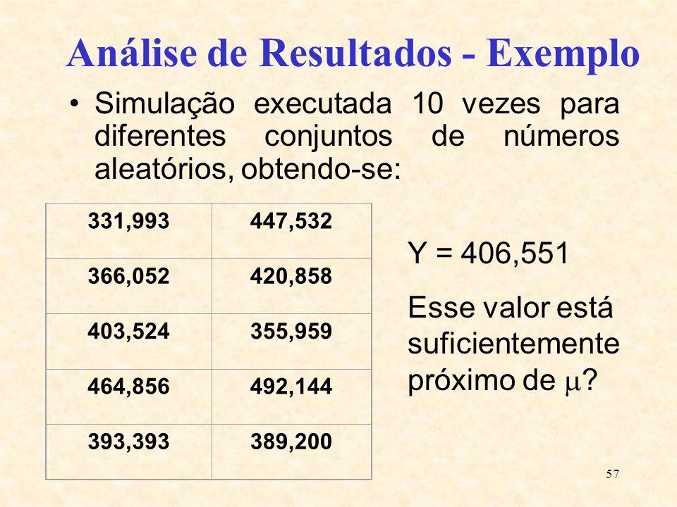 57 Análise de Resultados - Exemplo Simulação executada 10 vezes para diferentes conjuntos de números aleatórios, obtendo-se: 331,993447,532 366,052420