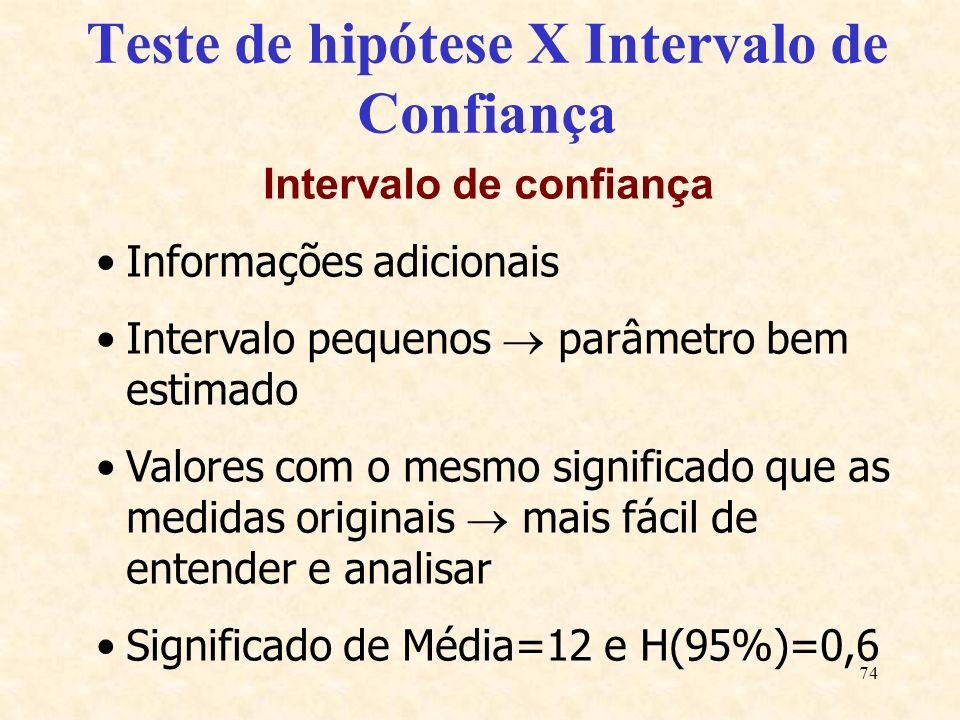 74 Teste de hipótese X Intervalo de Confiança Intervalo de confiança Informações adicionais Intervalo pequenos parâmetro bem estimado Valores com o me