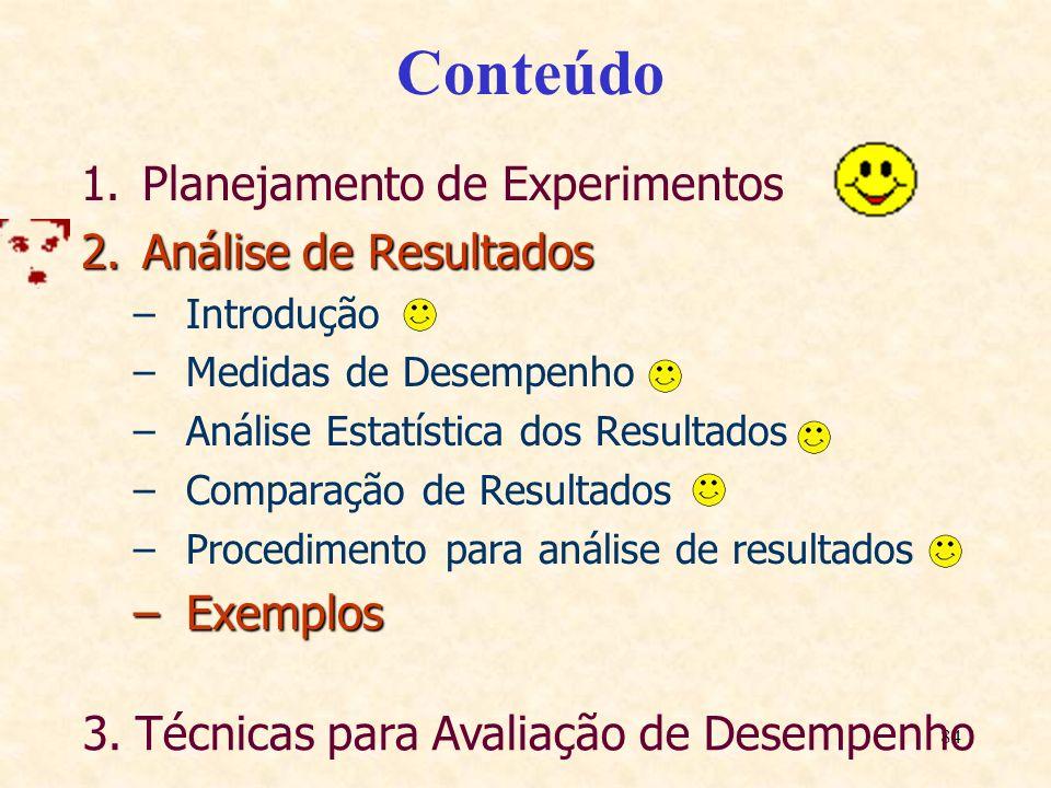 84 Conteúdo 1.Planejamento de Experimentos 2.Análise de Resultados –Introdução –Medidas de Desempenho –Análise Estatística dos Resultados –Comparação