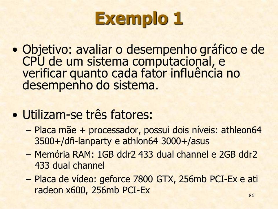 86 Exemplo 1 Objetivo: avaliar o desempenho gráfico e de CPU de um sistema computacional, e verificar quanto cada fator influência no desempenho do si
