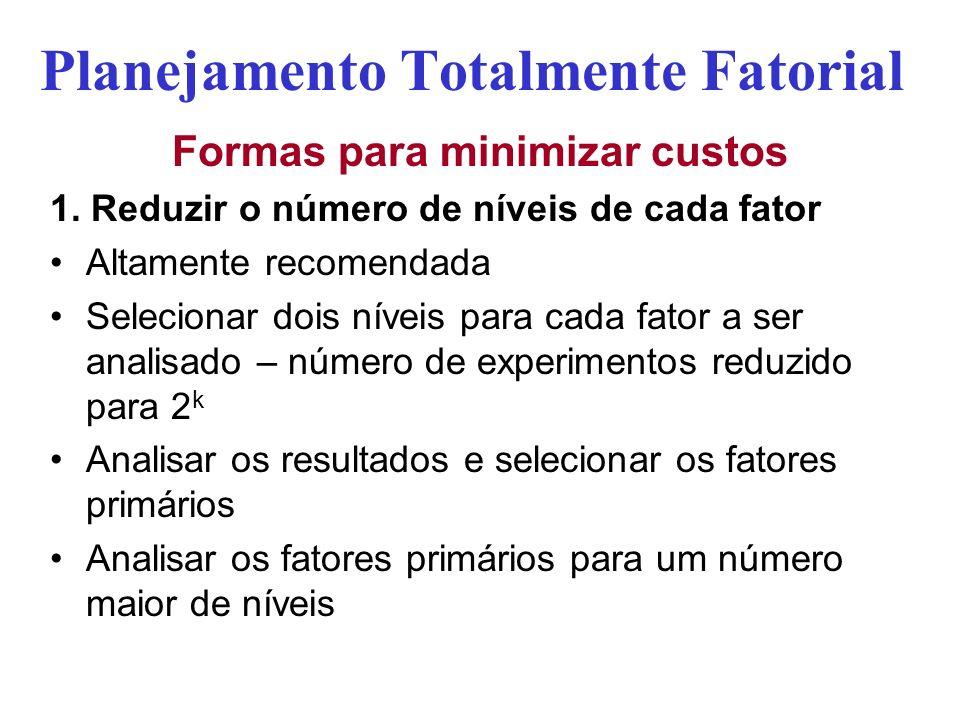 Planejamento Totalmente Fatorial Formas para minimizar custos 1. Reduzir o número de níveis de cada fator Altamente recomendada Selecionar dois níveis