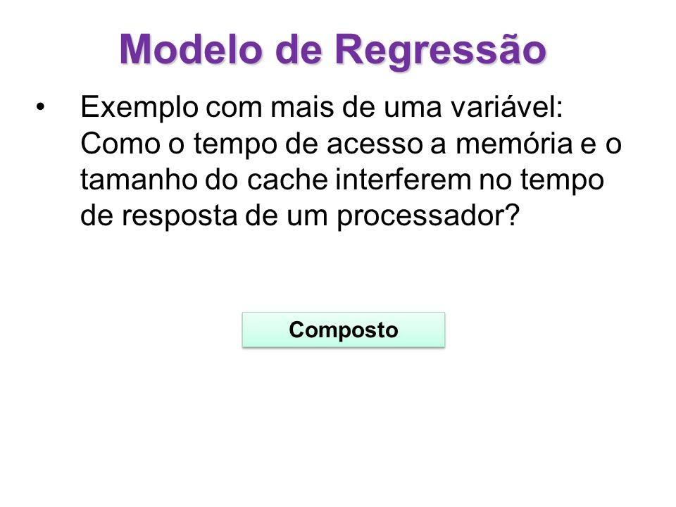 Modelo de Regressão Exemplo com mais de uma variável: Como o tempo de acesso a memória e o tamanho do cache interferem no tempo de resposta de um proc