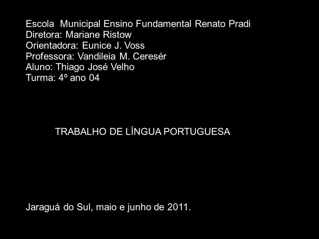 Escola Municipal Ensino Fundamental Renato Pradi Diretora: Mariane Ristow Orientadora: Eunice J. Voss Professora: Vandileia M. Ceresér Aluno: Thiago J