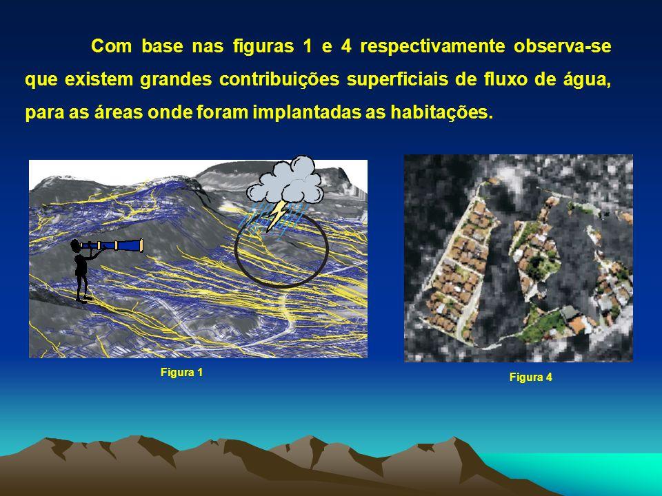 Com base nas figuras 1 e 4 respectivamente observa-se que existem grandes contribuições superficiais de fluxo de água, para as áreas onde foram implan