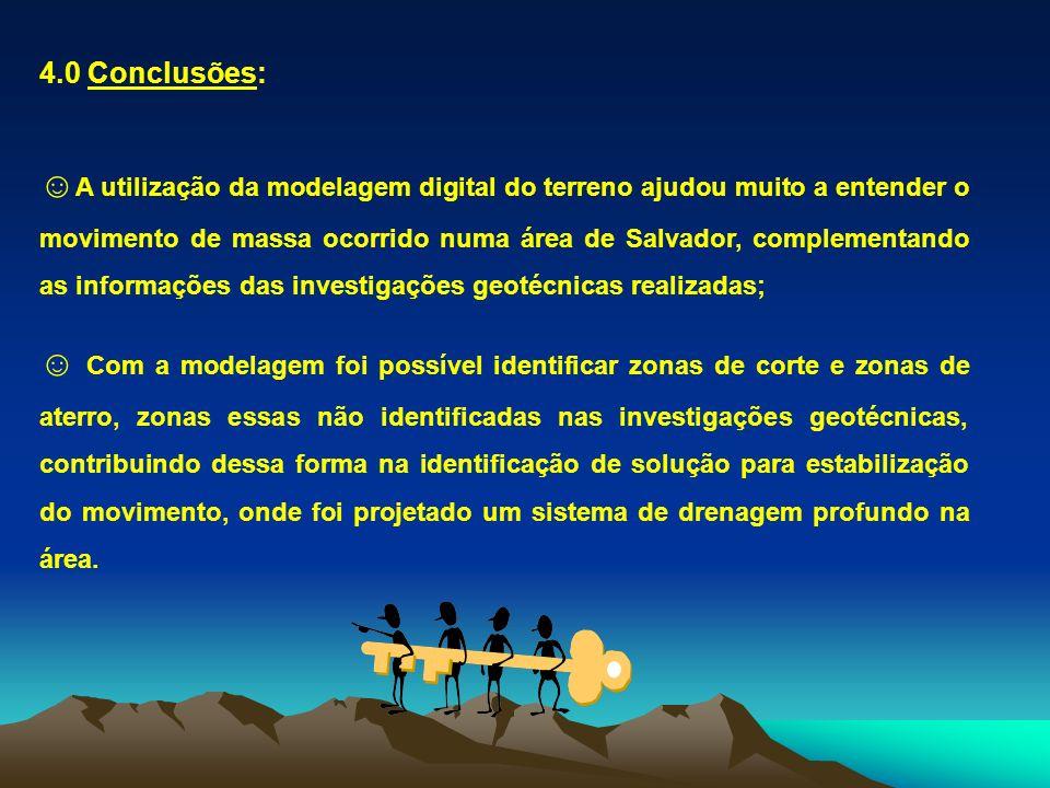 4.0 Conclusões: A utilização da modelagem digital do terreno ajudou muito a entender o movimento de massa ocorrido numa área de Salvador, complementan