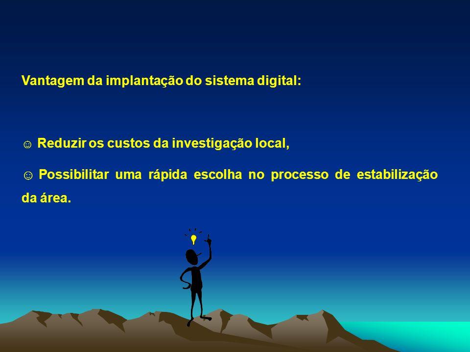 Vantagem da implantação do sistema digital: Reduzir os custos da investigação local, Possibilitar uma rápida escolha no processo de estabilização da á