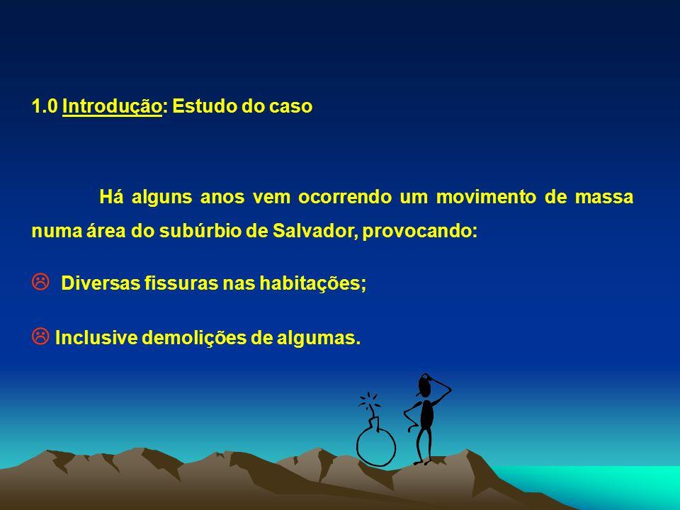 1.0 Introdução: Estudo do caso Há alguns anos vem ocorrendo um movimento de massa numa área do subúrbio de Salvador, provocando: Diversas fissuras nas