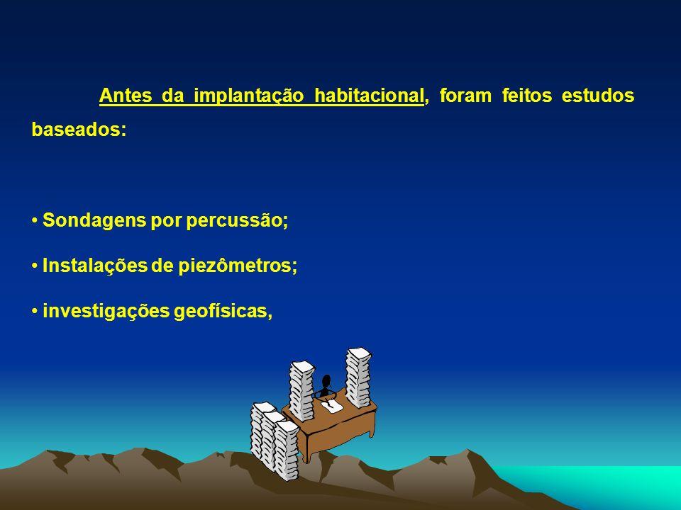Antes da implantação habitacional, foram feitos estudos baseados: Sondagens por percussão; Instalações de piezômetros; investigações geofísicas,